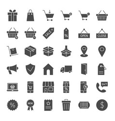 Commerce solid web icons vector