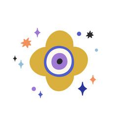 Composition turkish evil eye with stars around vector