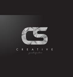 Cs c s letter logo with zebra lines texture vector