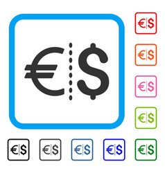 currency framed icon vector image
