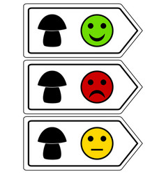Direction sign for mushrooms with smileys vector