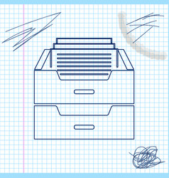 drawer with documents line sketch icon isolated on vector image