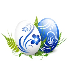Easter Gzhel Decorated Eggs vector image