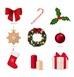 elements christmas collection vector image