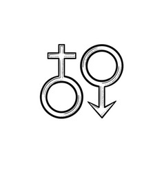 female male genger symbols hand drawn outline vector image