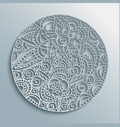 flower mandala paper cut handmade decoration vector image