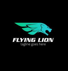 flying lion logo vector image