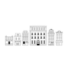 french city house building doodle set isolated vector image