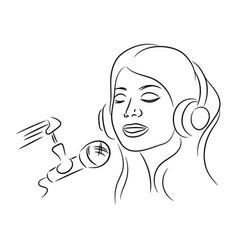girl sing music sound recording online illu vector image