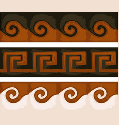 greek ancient patters with swirls and geometry vector image