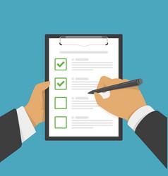 Hand filing checklist on clipboard vector