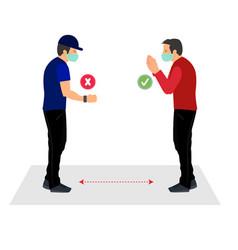 Handshake vs namaste theme for awareness covid vector