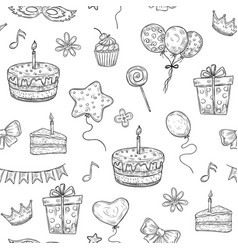 happy birthday seamless pattern birthday vector image