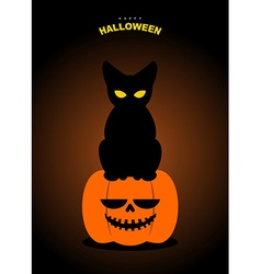 Happy Halloween Black cat sits on pumpkin at night vector