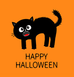 Happy halloween frightened cat arch back vector