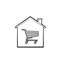 house shopping cart hand drawn outline doodle icon vector image