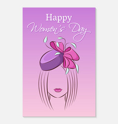 international womens day greeting card silhouette vector image