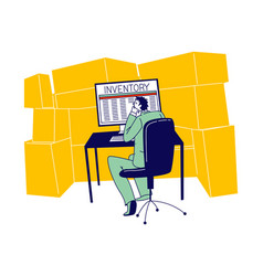 Inventory manager male character sitting in vector