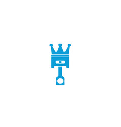 King piston with crown logo design automotive vector