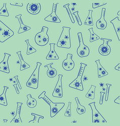 Lab flask glass seamless medical pattern vector