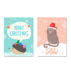 let it snow poster with hedgehog and cat in hat vector image