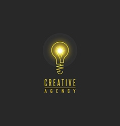 Light bulb logo lamp shine creative innovation vector image