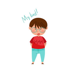 Little boy in glasses feeling sorry and expressing vector
