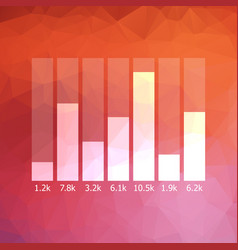low polygonal graph icon with data vector image