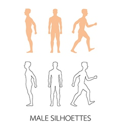 Male silhouettes front back and side vector