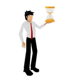 man hold sandglass vector image