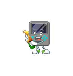 Mascot game console having a bottle beer vector