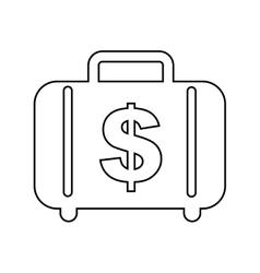 Money briefcase isolated icon design vector