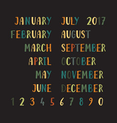 month names and numbers vector image