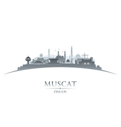 Muscat oman city skyline silhouette white vector