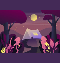 Nature landscape with tent at night or twilight vector