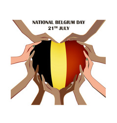 nayional day of belgium with hands vector image