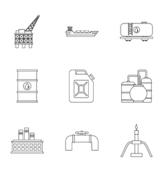Oil icons set outline style vector image