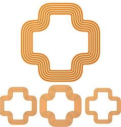 Orange line plus logo design set vector