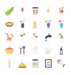 pack of foods and beverages flat icons vector image