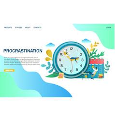 Procrastination website landing page design vector