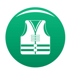 Rescue vest icon green vector