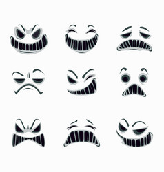 Scary ghost faces on white background vector