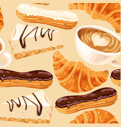 Seamless pattern with coffee and eclairs vector