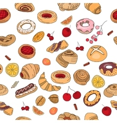 Seamless pattern with different pastry Different vector image