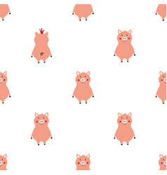 seamless pattern with pink pigs vector image