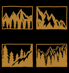set hand drawn hiking and tourism emblems vector image