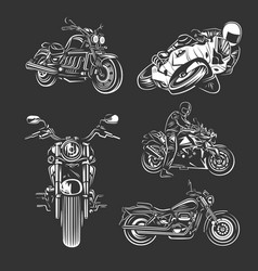 set motorcycles isolated on black background vector image