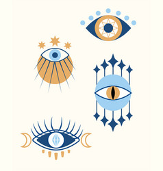 Set of colorful evil occult eyes on white vector