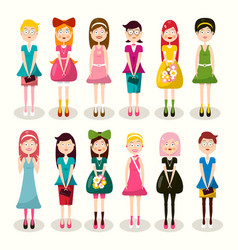 set of women characters flat design ladies vector image