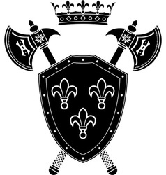 shield axes and crown stencil vector image